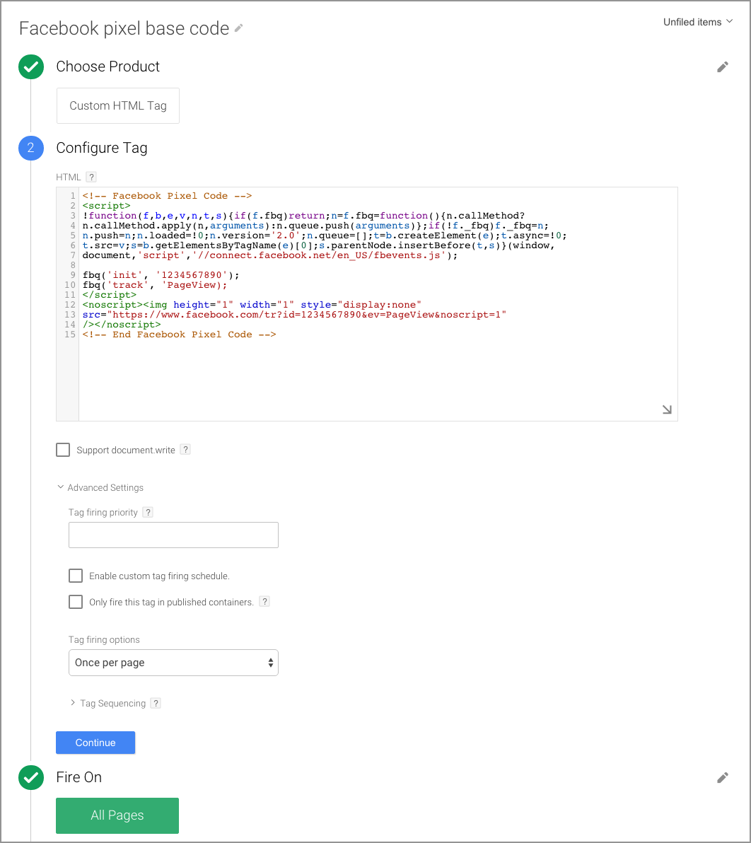 Google tag Manager Pixel FB asvega